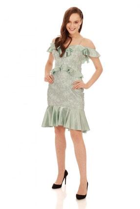 6ixty8ight Çağla Dantel Bel Yaka Fırfırlı Kısa Abiye Elbise 2
