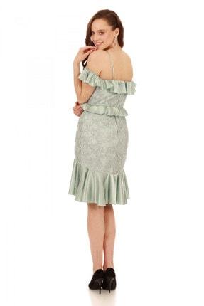 6ixty8ight Çağla Dantel Bel Yaka Fırfırlı Kısa Abiye Elbise 3