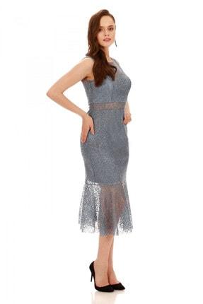 6ixty8ight Indigo Dantel Volanlı Kısa Abiye Elbise 2