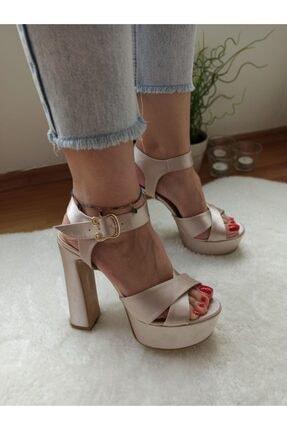 DS AYAKKABI Kadın Bej Saten Platform Abiye Ayakkabı 0