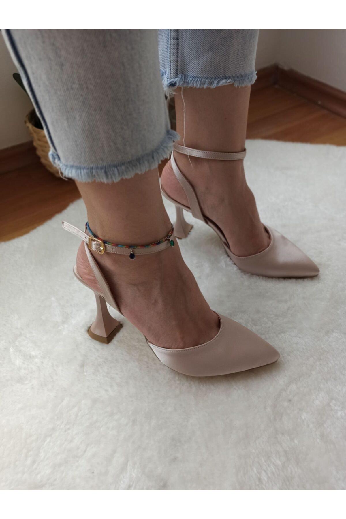 Kadın Bej Saten Abiye Ayakkabı