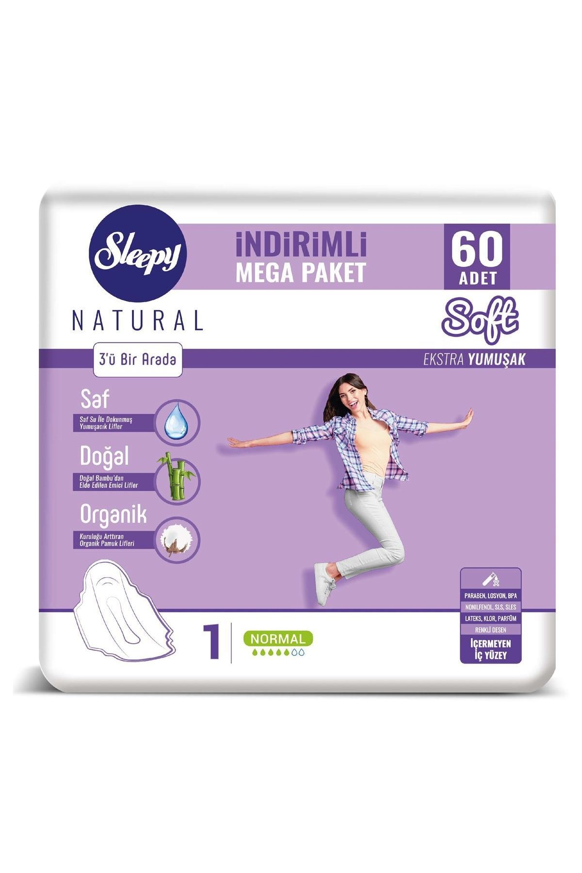 Sleepy Natural Soft Ekstra Yumuşak Normal (60 Ped) Mega Paket 0