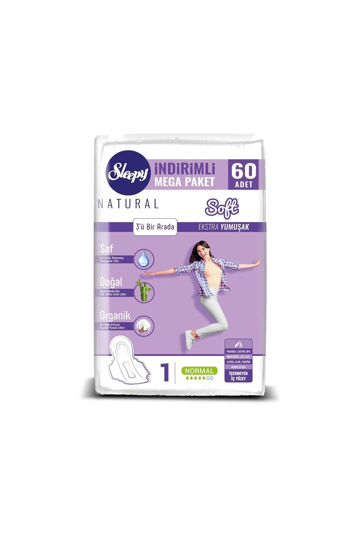 Sleepy Natural Soft Ekstra Yumuşak Normal (60 Ped) Mega Paket 1
