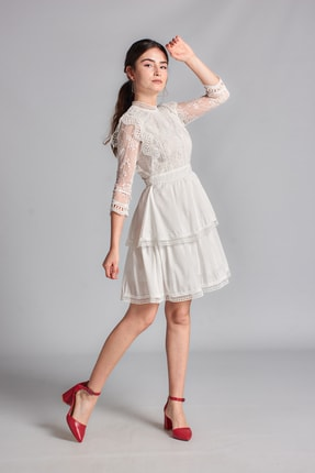 Housebutik Kadın Beyaz Güpür Detay Kat Kat Elbise 0