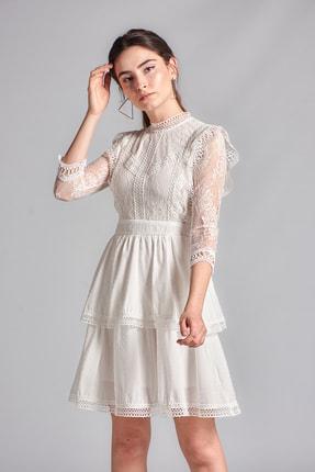 Housebutik Kadın Beyaz Güpür Detay Kat Kat Elbise 2
