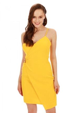 6ixty8ight Sarı Askılı Yandan Tokalı Kısa Abiye Elbise 4