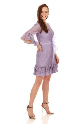 6ixty8ight Lila Dantelli Kolları Volanlı Kısa Abiye Elbise 1