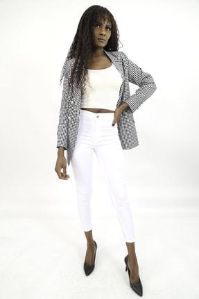 MiraSamanci Kadın Siyah Pötikare Desen Kruvaze Blazer Ceket 0
