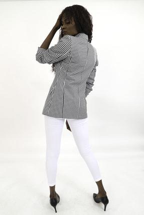 MiraSamanci Kadın Siyah Pötikare Desen Kruvaze Blazer Ceket 2