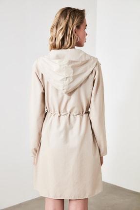TRENDYOLMİLLA Bej Kapüşonlu Elbise TWOAW20EL0080 4