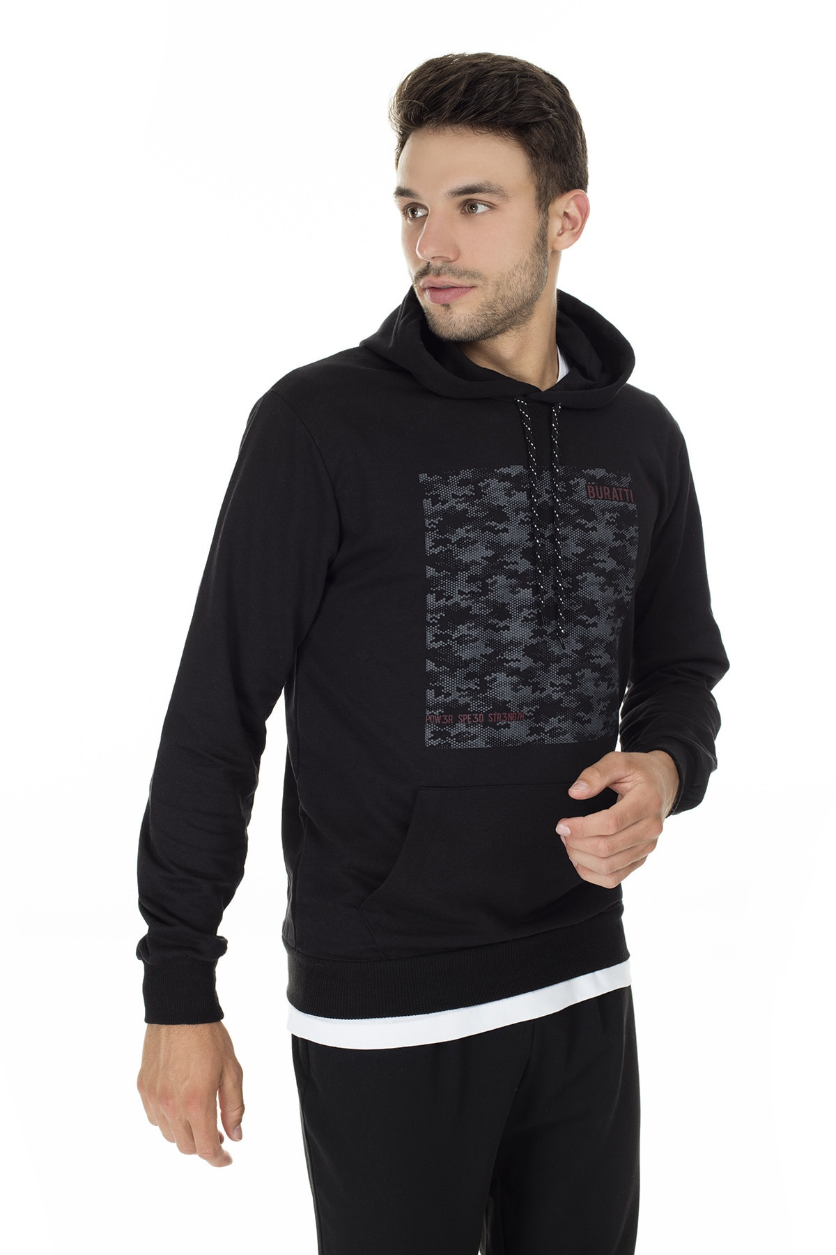 Buratti Erkek SİYAH Ön Beden Baskılı Kapüşonlu Cepli Standart Fit Sweatshirt 541BURATTI 1