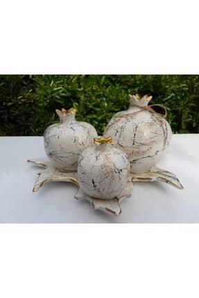 Artezza Home Tabaklı Üçlü Nar Seti Beyaz Altın Mermer Desenli 0