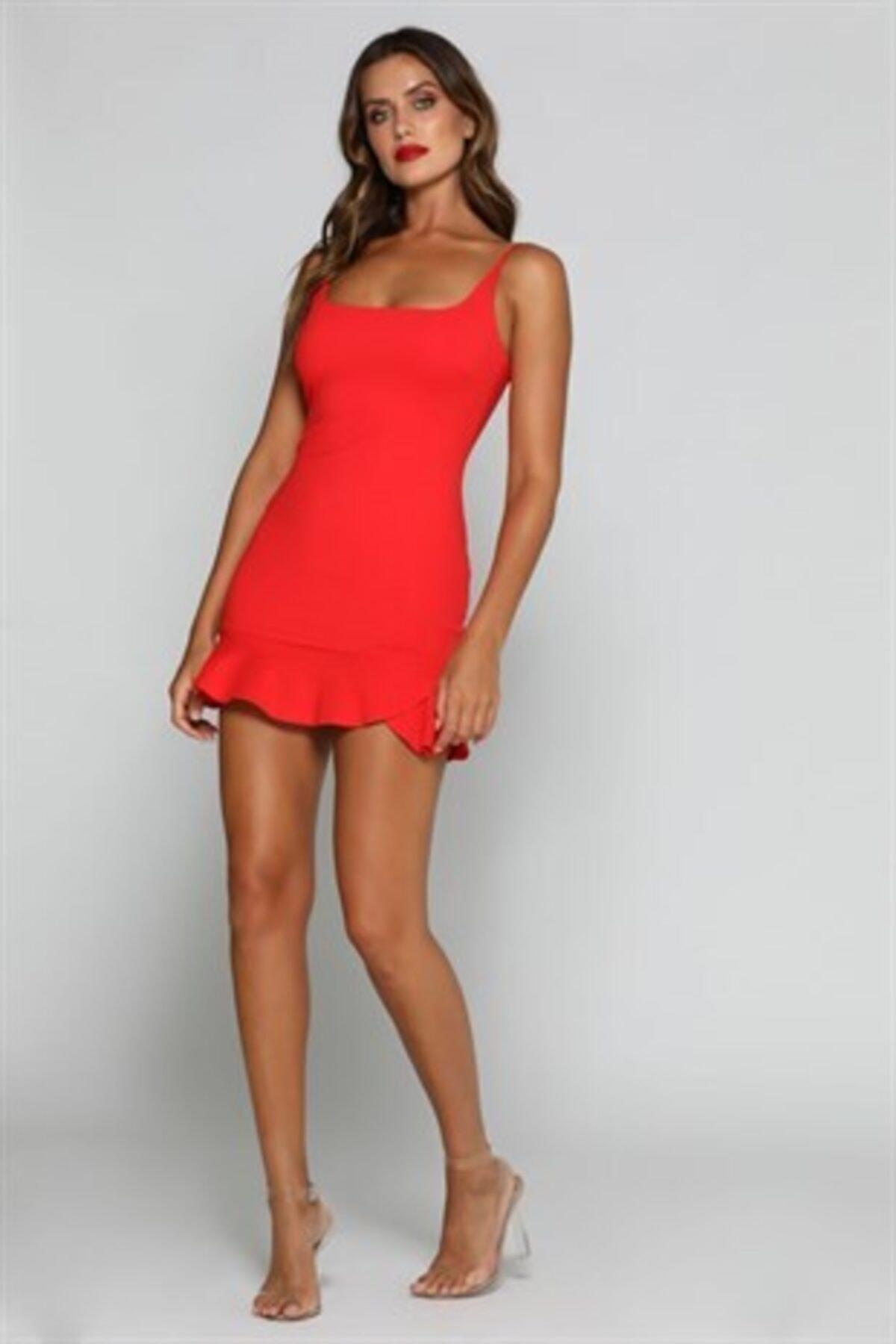 Kadın Kırmızı Esnek Dalgıç Kumaş Mini Abiye Elbise
