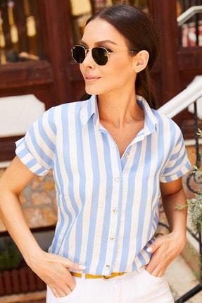 armonika Kadın Mavi Kalın Çizgili Kısa Kol Gömlek Arm-20Y001106 1