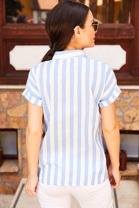 armonika Kadın Mavi Kalın Çizgili Kısa Kol Gömlek Arm-20Y001106 3