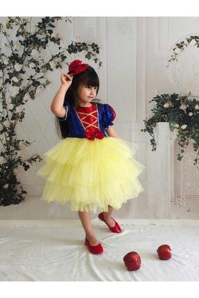 Buse&Eylül Bebe Kız Çocuk Sarı Pamuk Prenses Pul Payet Tütülü  Parti Elbisesi 1