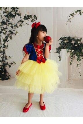 Buse&Eylül Bebe Kız Çocuk Sarı Pamuk Prenses Pul Payet Tütülü  Parti Elbisesi 2