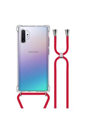 MobileGaraj Galaxy Note 10 Plus Uzy Şeffaf Boyun Askılı Kırmızı Şeritli Kılıf+kitap 0