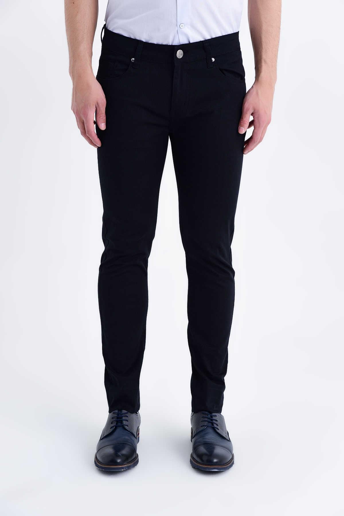 Desenli Slim Fit Siyah Pantolon 29253019B002