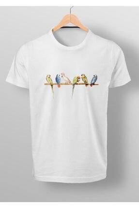 By Okat Renkli Kuşlar Baskılı T-shirt 0