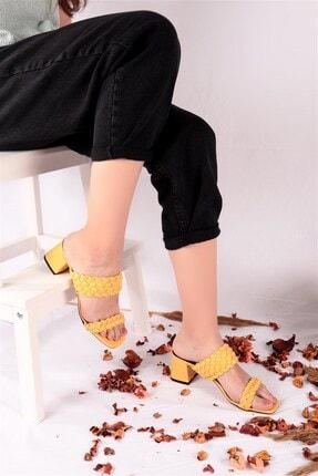 Ayakkabım Elimde Kadın Sarı Odin Örgülü Sarı Topuklu Terlik 1