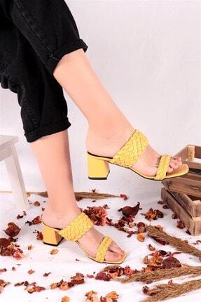 Ayakkabım Elimde Kadın Sarı Odin Örgülü Sarı Topuklu Terlik 2