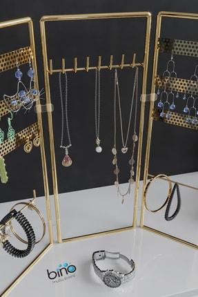 Bino Gold Altın 3'lü Takı Standı, Takılık, Küpelik, Bileklik, Kolye Seti, Takı Dolabı Düzenleyici 4