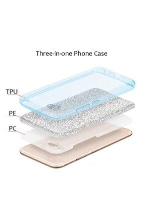 """Cekuonline Iphone 11 Pro Max 6.5"""" Kılıf Simli Shine Desen Silikon Gümüş Gri - Stok871 - Kalplik 2"""