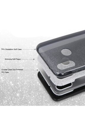 """Cekuonline Iphone 11 Pro Max 6.5"""" Kılıf Simli Shine Desen Silikon Gümüş Gri - Stok871 - Kalplik 3"""