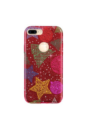 Cekuonline Iphone 7 Plus Kılıf Simli Shining Desenli Silikon Kırmızı - Stok788 - Noel Yıldız 0
