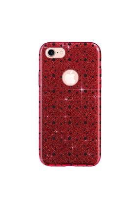 Cekuonline Iphone 6 6s Kılıf Simli Shining Desenli Silikon Kırmızı - Stok118 - Benekli 0
