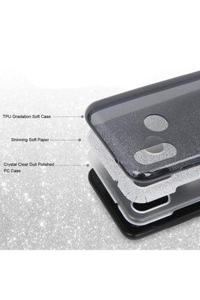 Cekuonline Samsung Galaxy A20s Kılıf Simli Shining Desenli Silikon Gümüş Gri - Stok754 - Kral Deseni 3