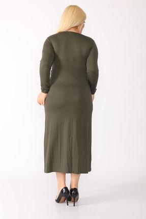 trendbwr Kadın Haki Yeşil Penye Elbise 4