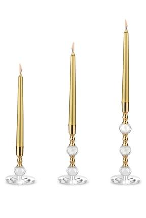 MumvemuM 3 Lü Set Altın Rengi Kristal Şamdan Ve 4 Adet Gold Şamdan Mum 0