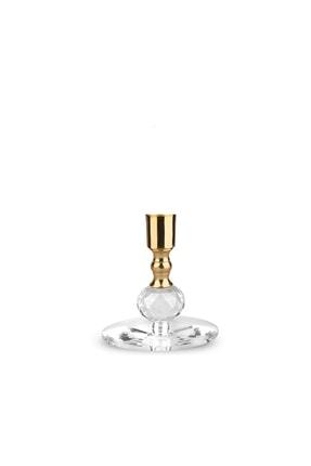 MumvemuM 3 Lü Set Altın Rengi Kristal Şamdan Ve 4 Adet Gold Şamdan Mum 2