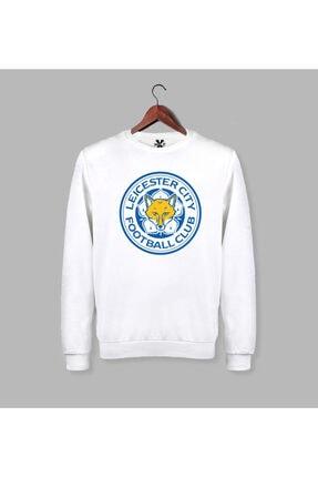 Darkia Erkek Beyaz Leicester City Baskılı Uzun Kollu Sweatshirt 0