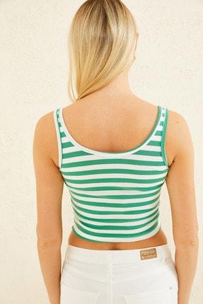 New Now Kadın Yeşil Mini V Yaka Çizgili Crop Bluz 20Y702193 3