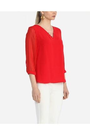 Ayhan Kadın Kırmızı V Yaka Bluz 1980892 1