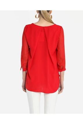 Ayhan Kadın Kırmızı V Yaka Bluz 1980892 2