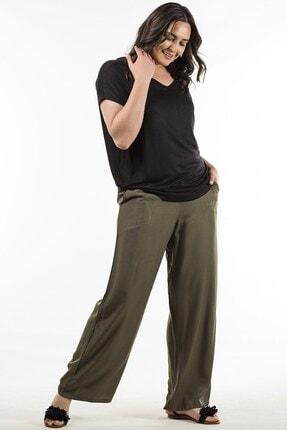 Womenice Kadın Haki Beli Lastikli Pantolon 1