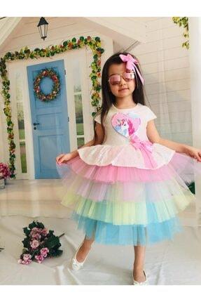 Mixie Kız Çocuk Renkli Unicorn Pul Payet Tokalı Elbisesi 1