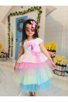 Mixie Kız Çocuk Renkli Unicorn Pul Payet Tokalı Elbisesi 2