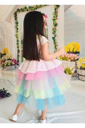 Mixie Kız Çocuk Renkli Unicorn Pul Payet Tokalı Elbisesi 3