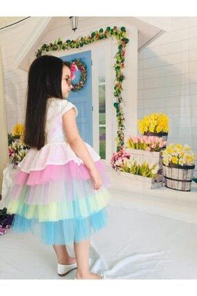 Mixie Kız Çocuk Renkli Unicorn Pul Payet Tokalı Elbisesi 4