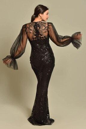 Modakapimda Siyah Kolları Tül Pul Payet Abiye Elbise 1
