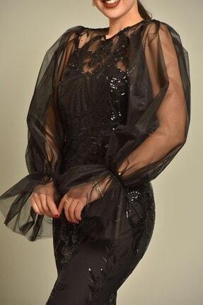Modakapimda Siyah Kolları Tül Pul Payet Abiye Elbise 3