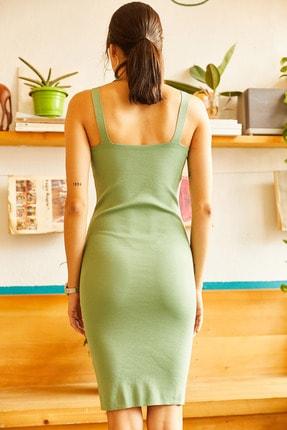 Olalook Kadın Çağla Yeşili Kuş Gözü Detaylı Yazlık Triko Elbise ELB-19001212 3