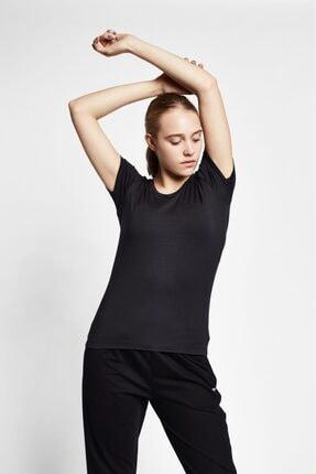 19s-2205-19n Siyah Kadın Kısa Kollu T-shirt resmi