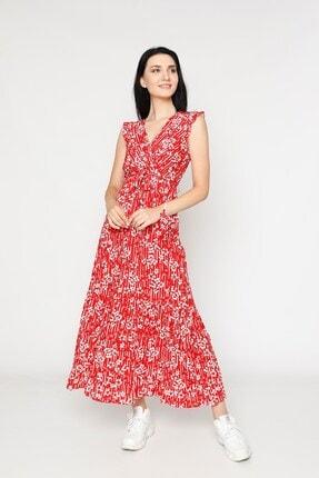 EPULİMO Kadın Kırmızı Kruvaze Yaka Kuşaklı Kısa Kol Viskon Elbise Mcg 621 1