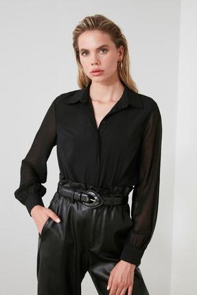TRENDYOLMİLLA Siyah Kol Detaylı Gömlek TWOAW20GO0116 0